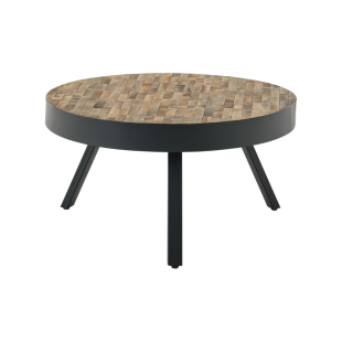 FLY-table basse ronde bois / metal noir