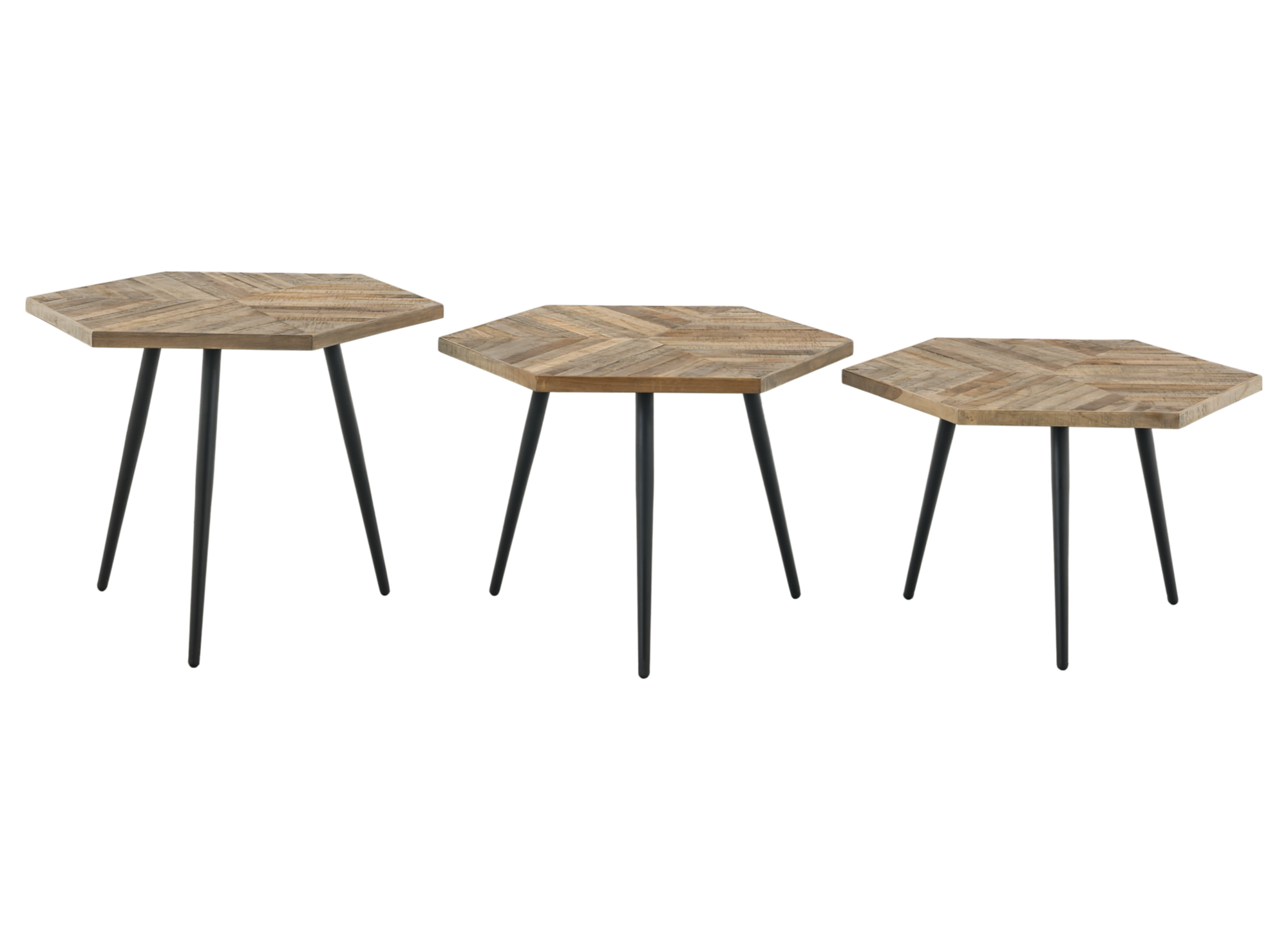 set de 3 tables basses bois metal fly. Black Bedroom Furniture Sets. Home Design Ideas