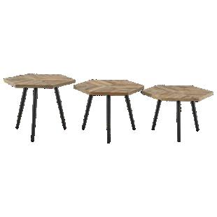 FLY-set de 3 tables basses bois / metal