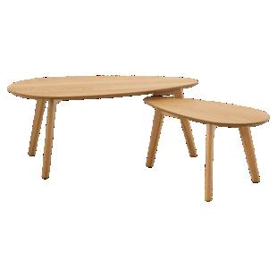 FLY-set de 2 tables basses plaque chene