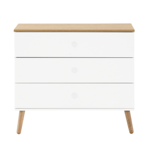 FLY-commode 3 tiroirs blanc / pieds bois