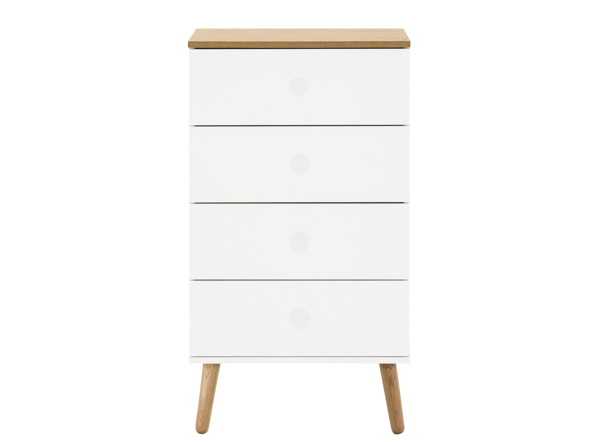 chiffonnier 4 tiroirs blanc pieds bois fly. Black Bedroom Furniture Sets. Home Design Ideas