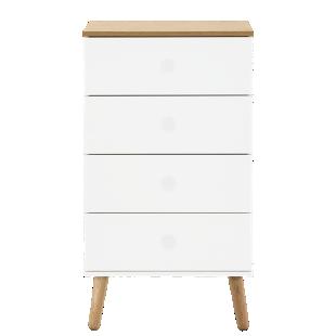 FLY-chiffonnier 4 tiroirs blanc / pieds bois