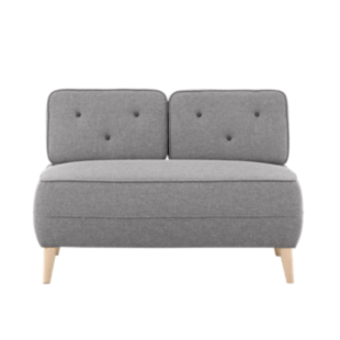 FLY-canape fixe 2 places tissu gris clair