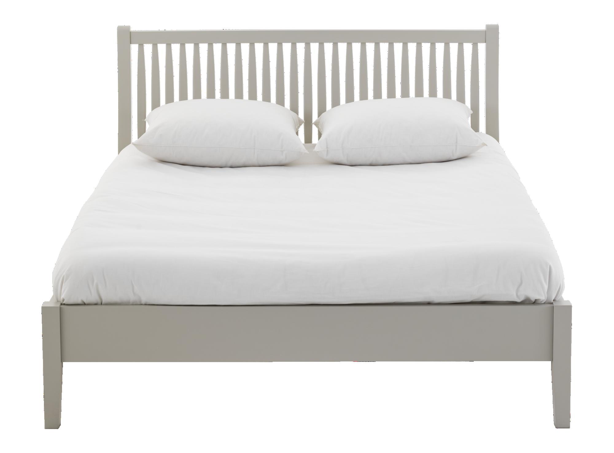 Lit gris laque : cadre de lit en pin lamelle. traverse centrale en pi ...