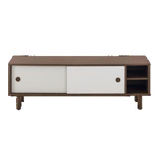 FLY-meuble tv 2 portes laque gris/noyer