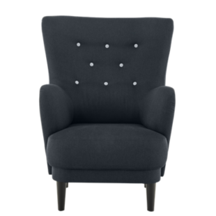 FLY-fauteuil tissu gris anthracite/boutons gris clair