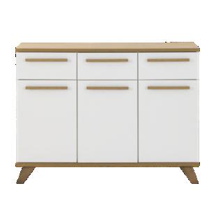 FLY-bahut 3 portes/3 tiroirs blanc/chene sonoma