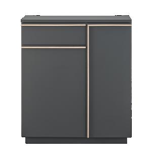 FLY-rangement 2 portes/1 tiroir gris/chene sonoma