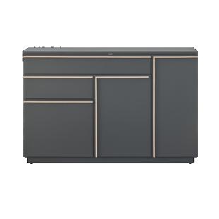 FLY-bahut 3 portes/2 tiroirs gris/chene sonoma