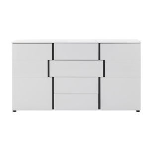 FLY-bahut 2 portes/4 tiroirs blanc/gris