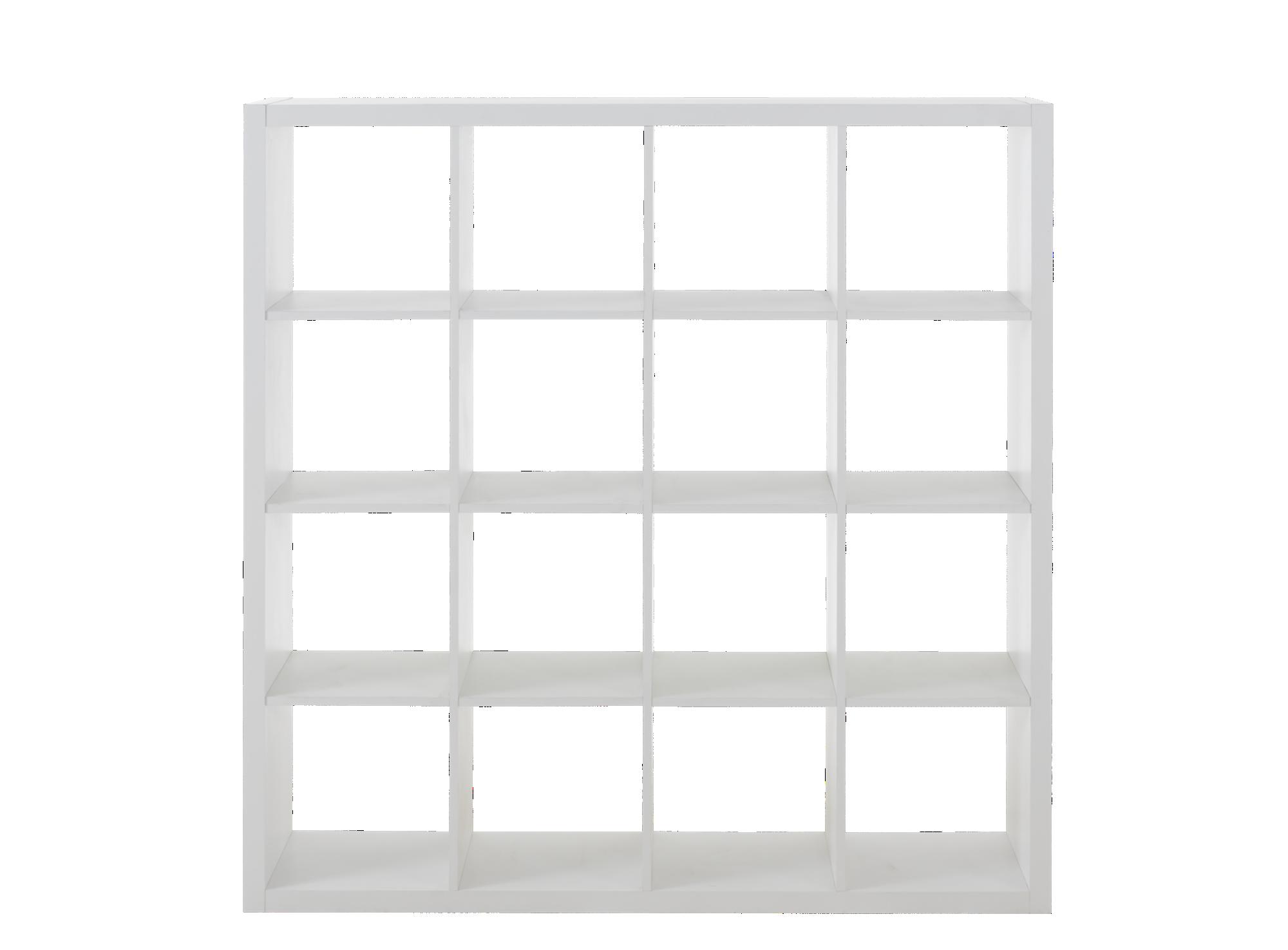Etagere 4x4 cases en panneau alveole finition decor papier coloris bl ...