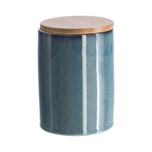 FLY-boite bleu h16cm couvercle bambou