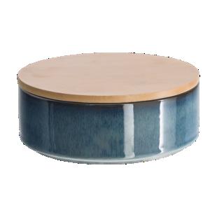FLY-boite bleu h7cm couvercle bambou