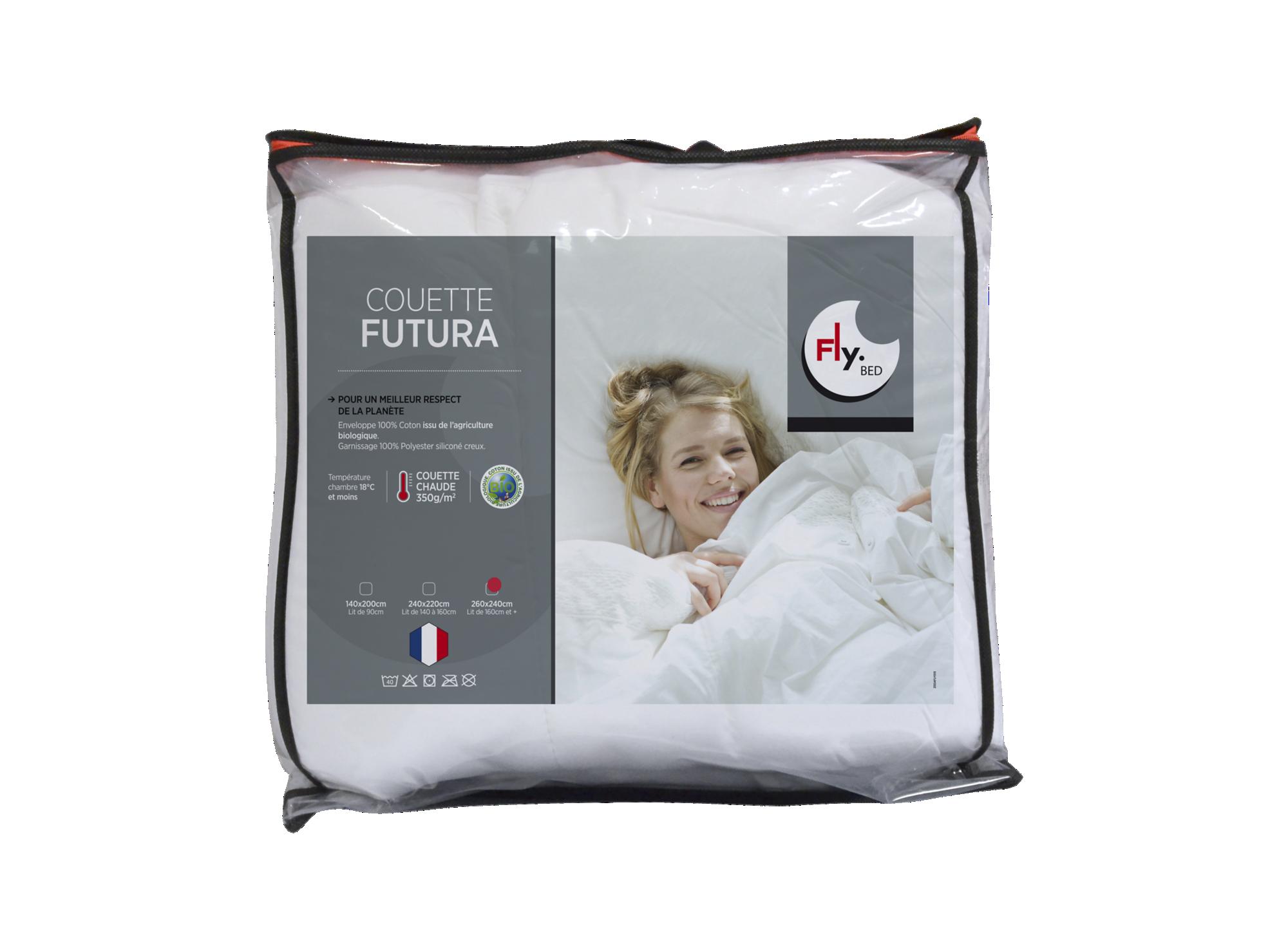 Couette bio 260x240 cm enveloppe 100% coton bio. garnissage 100% fibr ...