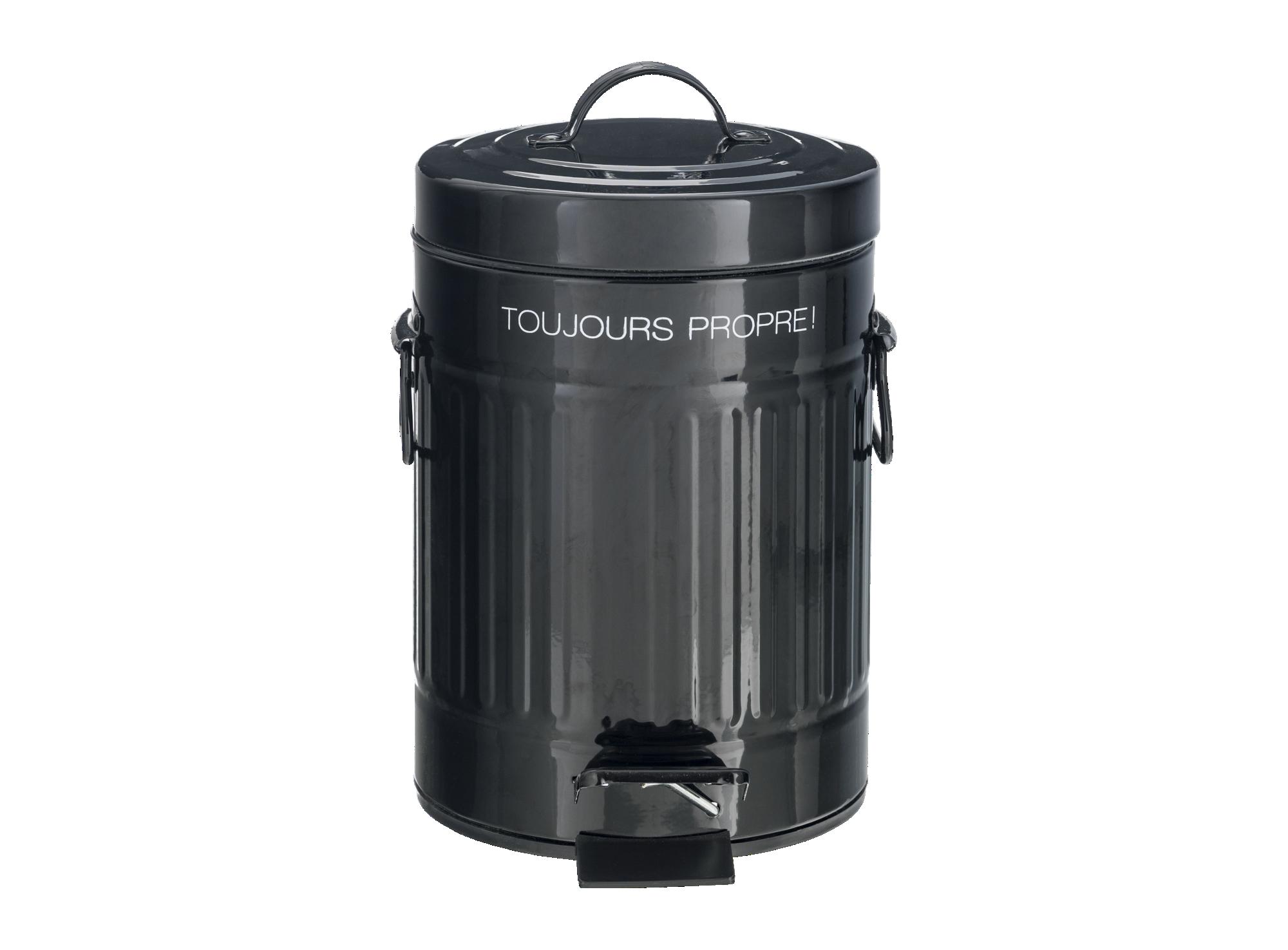 Poubelle 3 litres h30cm en acier inoxydable - coloris noir