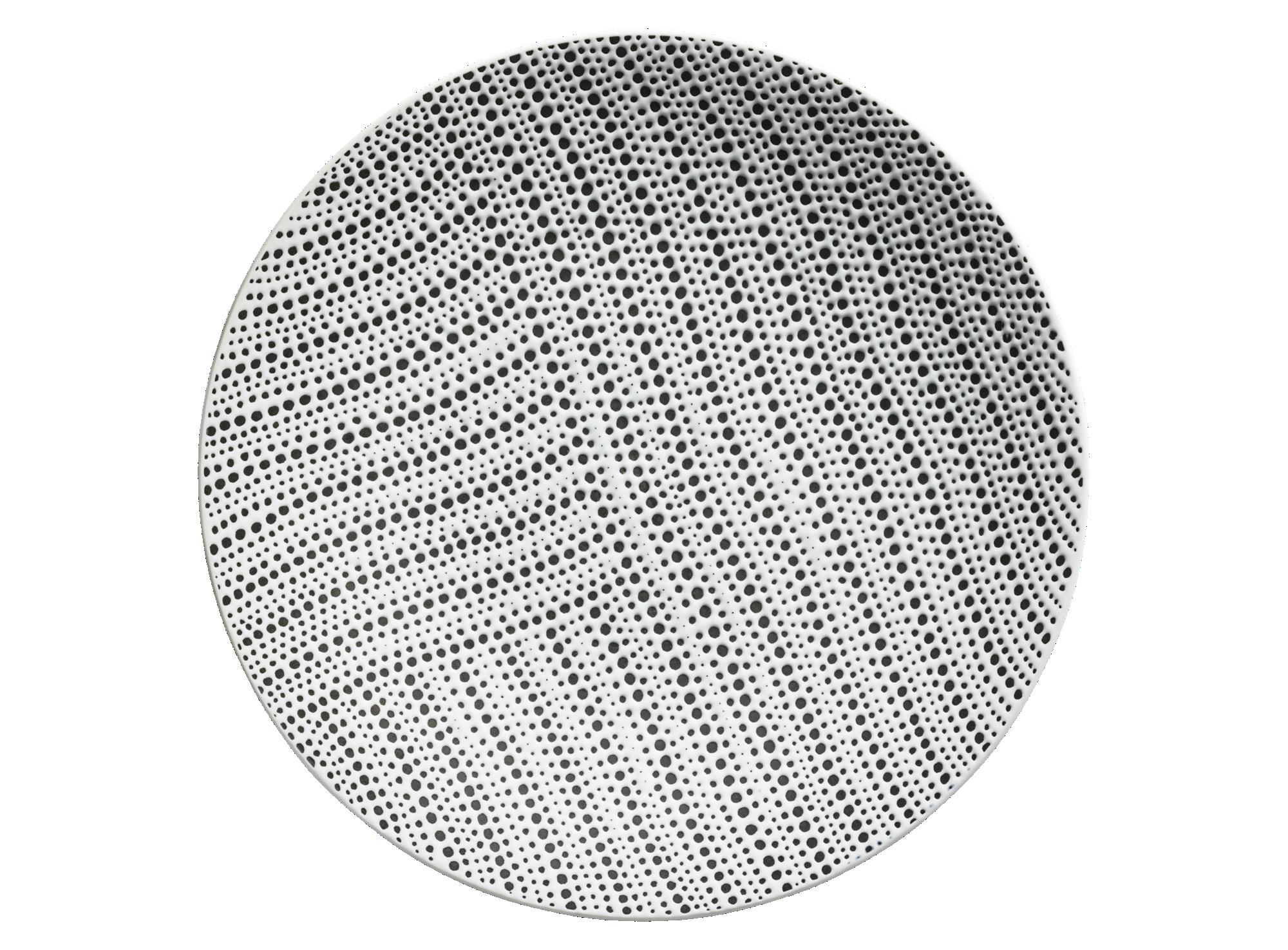 Assiette plate d27cm en gres - coloris blanc/noir -resiste au lave va ...