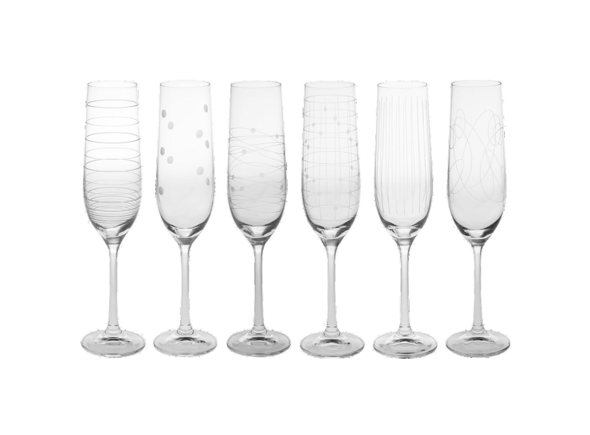 Lot de 6 flutes 19cl en verre cristallin transparent - resiste au lav ...