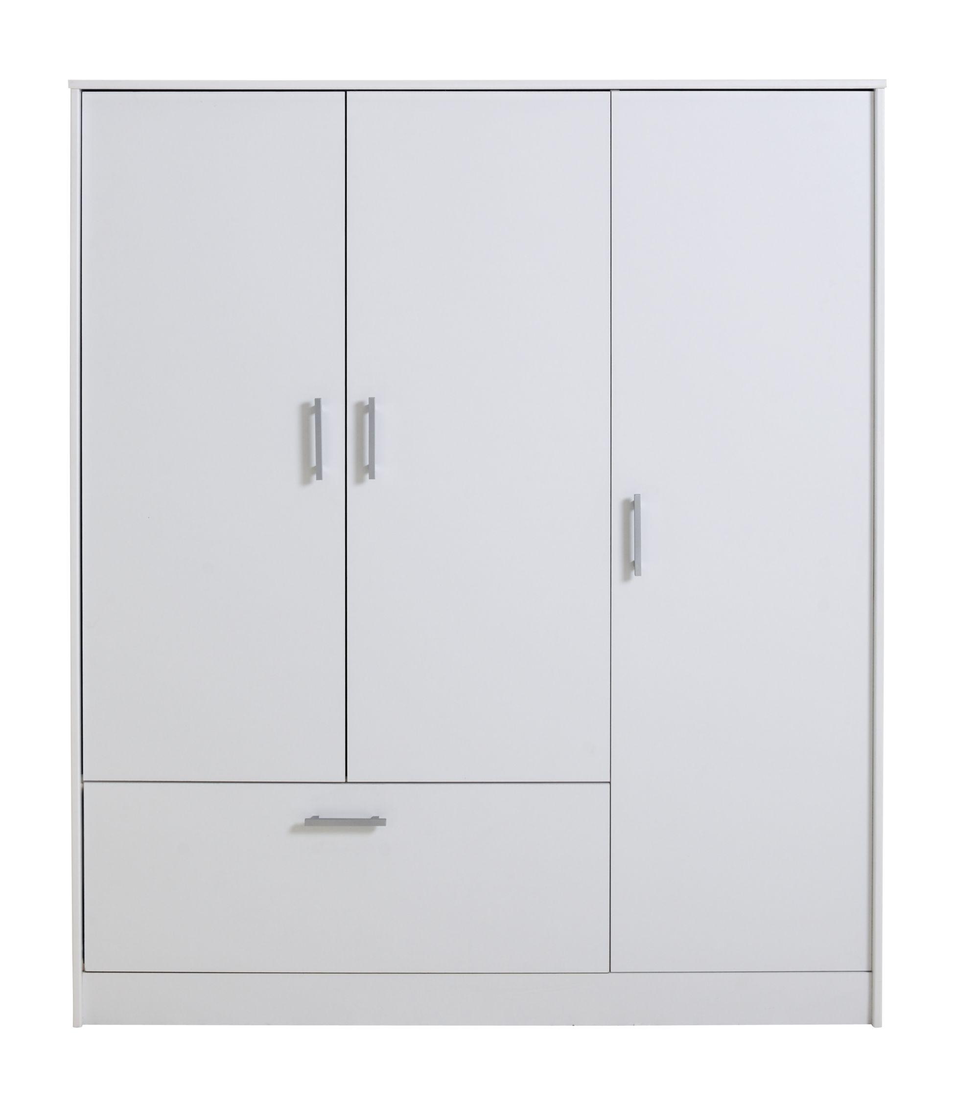 Armoire 3 portes 1 tiroir blanc Armoire Chambre Meuble