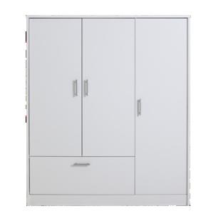 FLY-armoire 3 portes 1 tiroir blanc