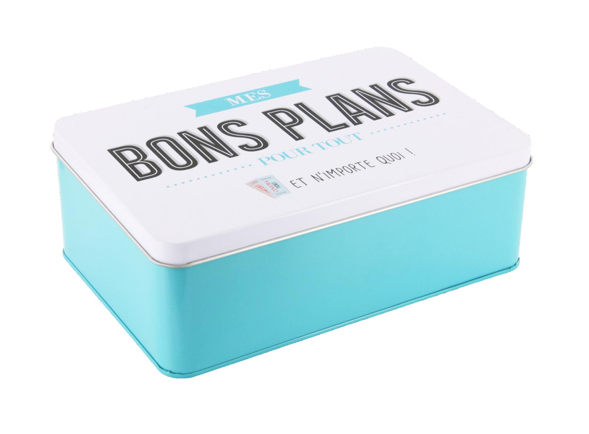Boite a bons plans 19.9x13.5cm en metal - coloris bleu