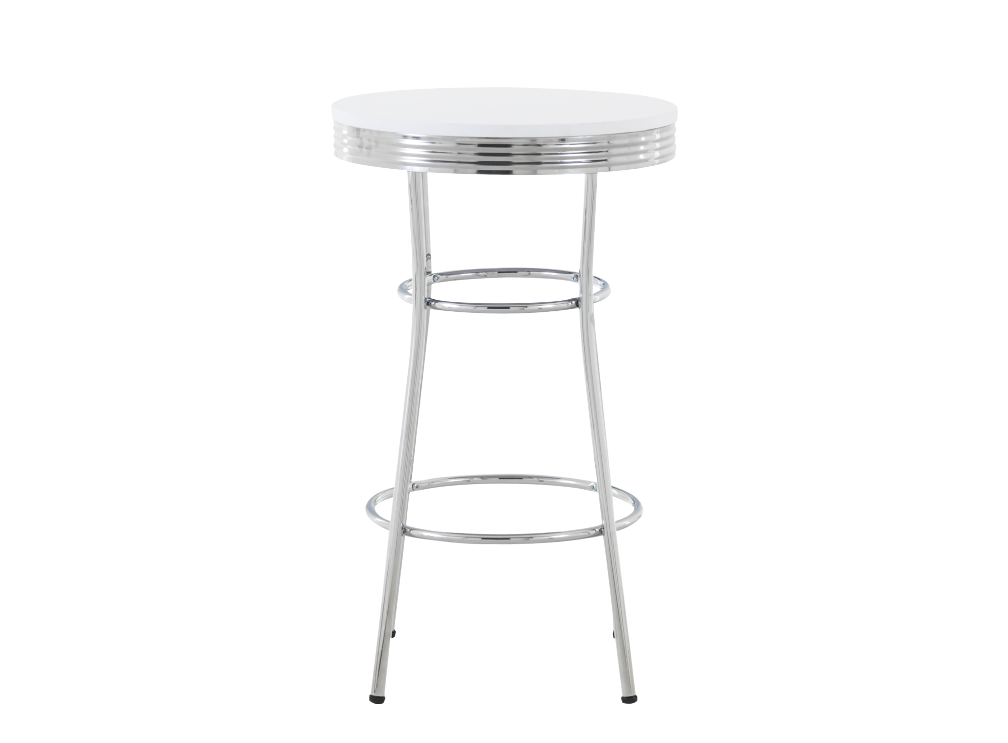Table haute chrome blanc table table chaise meuble for Table bar haute blanche