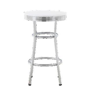 FLY-table haute chrome/blanc