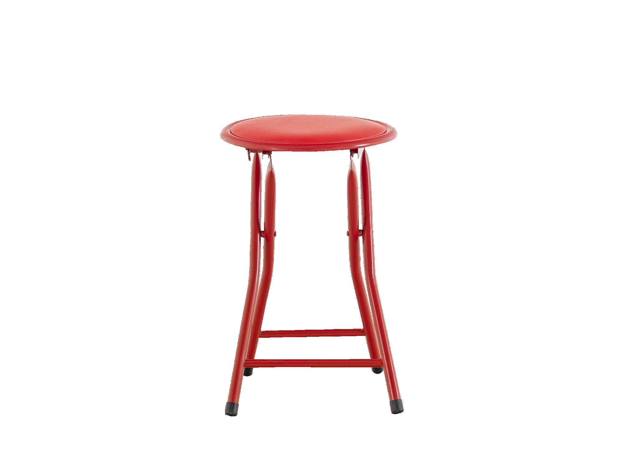 Tabouret pliant structure en acier laque epoxy coloris rouge. garniss ...