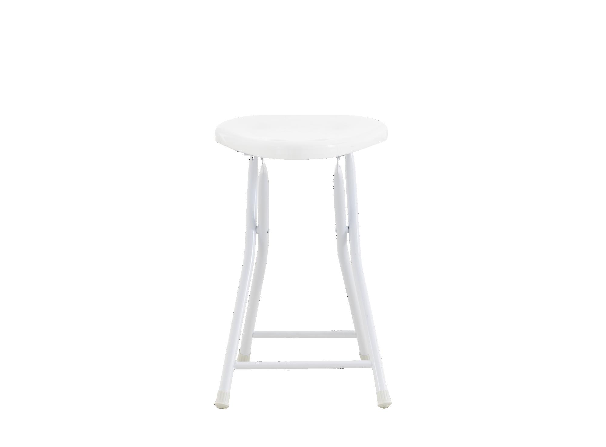 Tabouret pliant : assise en polypropylene coloris blanc brillant. pie ...