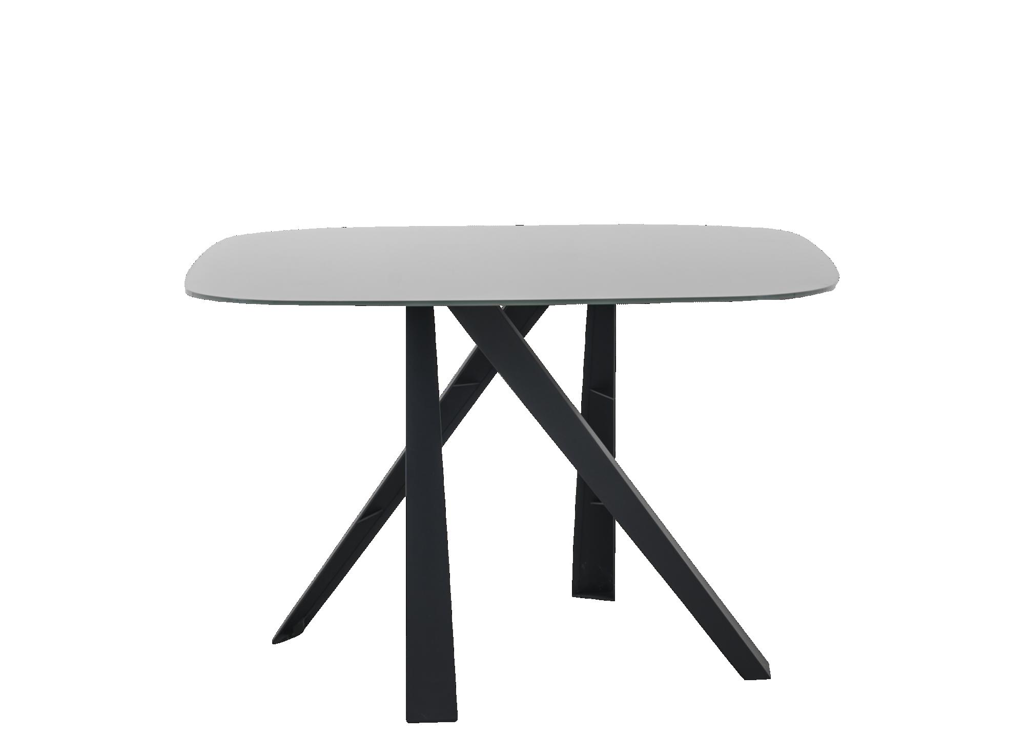 Table carree : plateau en verre trempe epaisseur 1 cm coloris gris. p ...
