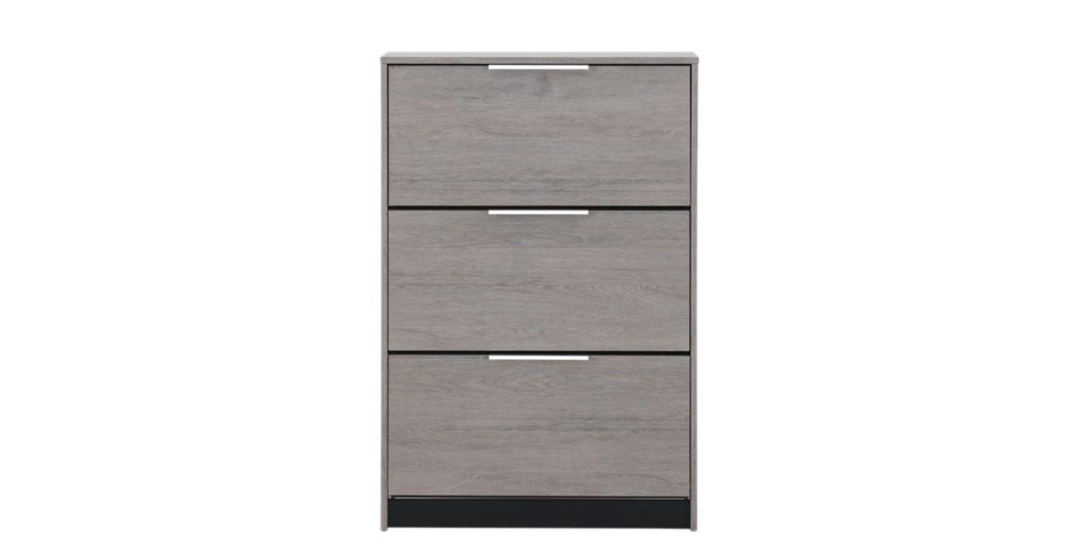 meuble a chaussure 3 abattants gris meuble chaussures rangement meuble fly. Black Bedroom Furniture Sets. Home Design Ideas