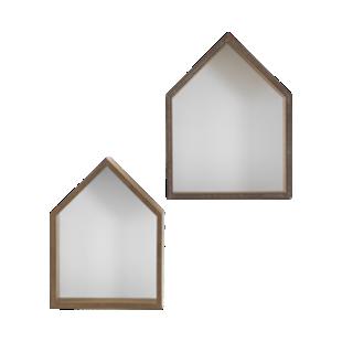 FLY-lot de 2 etageres murales bois/blanc