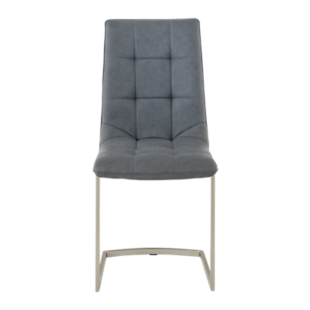 FLY-chaise assise grise/pieds inox