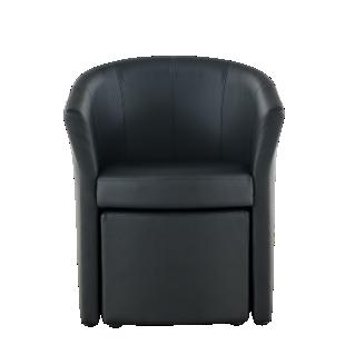 FLY-fauteuil avec pouf noir