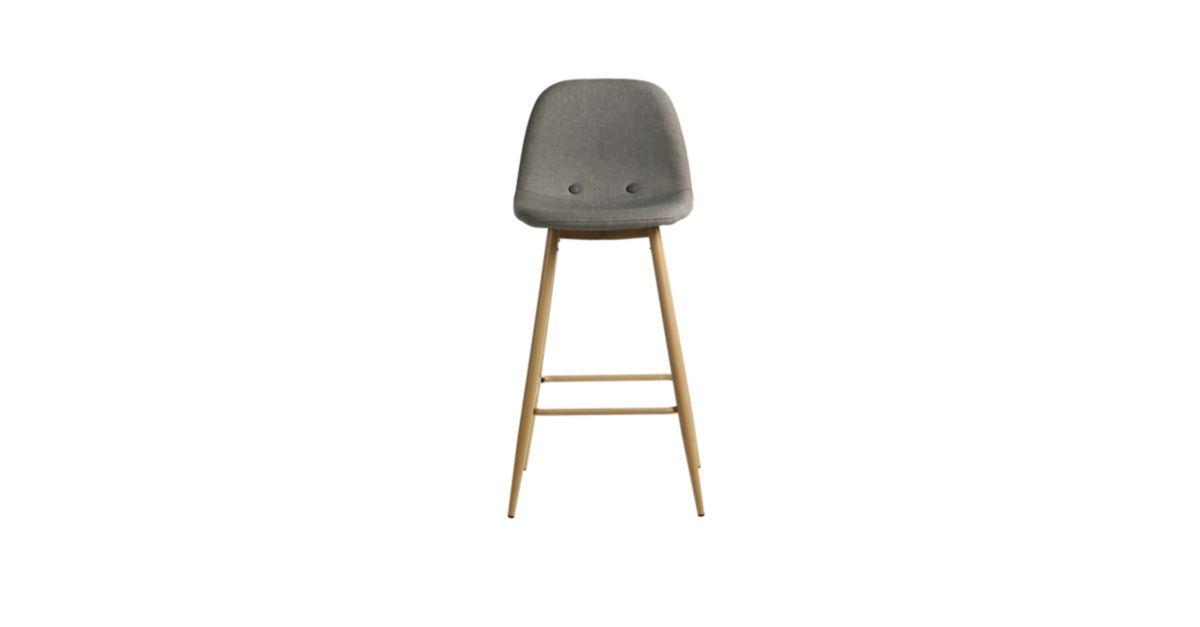 tabouret de bar assise grise pieds coloris bois fly. Black Bedroom Furniture Sets. Home Design Ideas