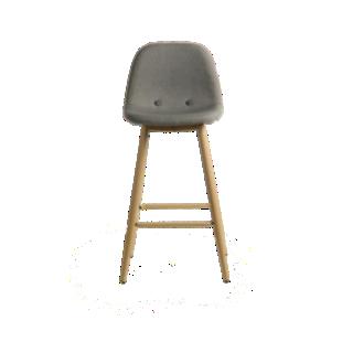 FLY-tabouret de bar assise grise pieds coloris bois