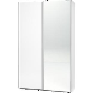 FLY-armoire 2 portes l120 p42 miroir/blanc