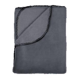 FLY-plaid polaire 150x230 gris + point de cheval noir