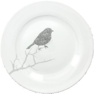 FLY-lot 6 assiettes plates oiseaux d26,5cm