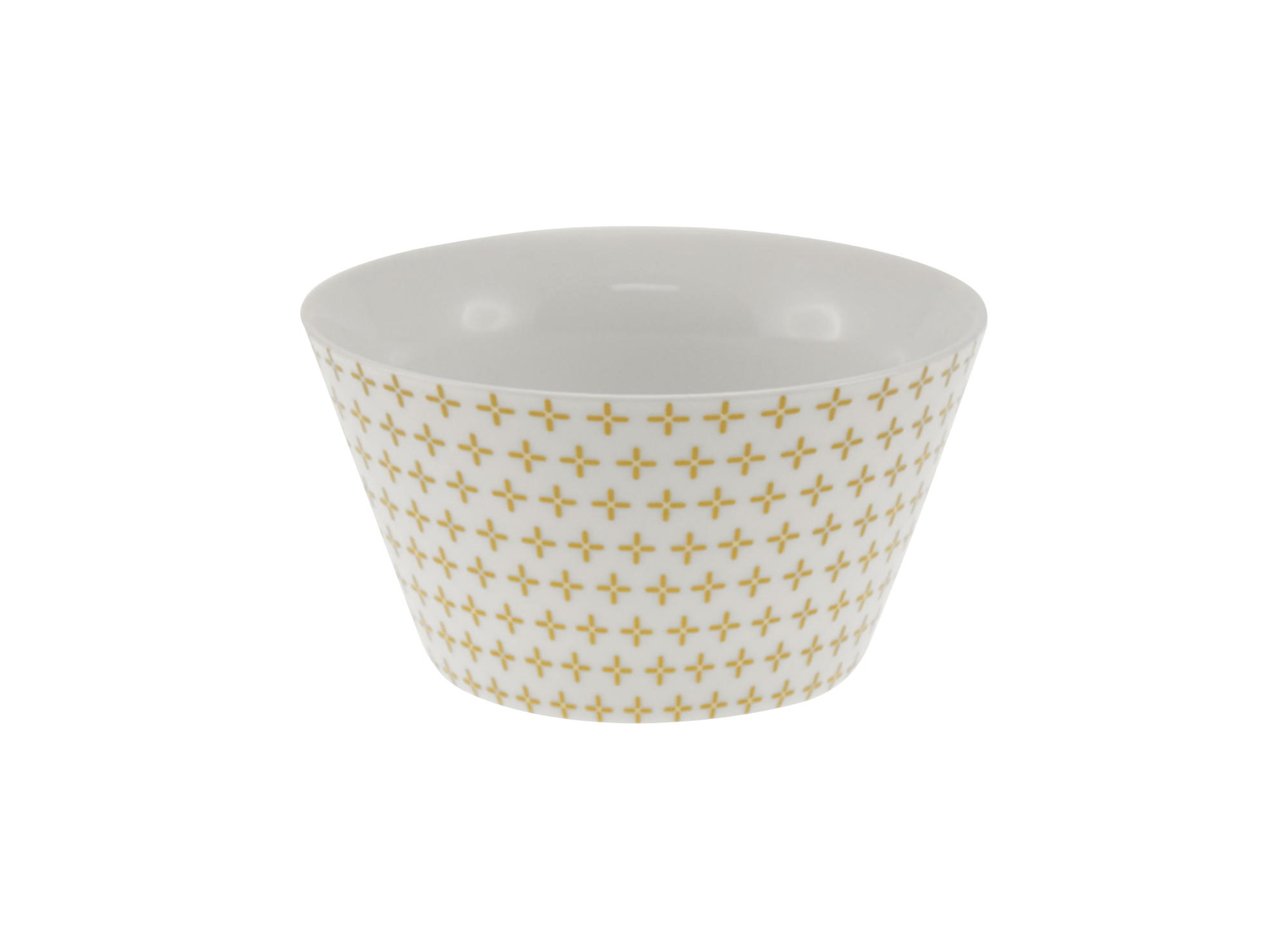 Bol conique 55cl en porcelaine - coloris blanc et or - resiste au mic ...