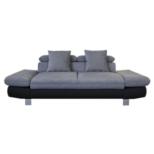 FLY-canape fixe 3 places tissu anthracite / pu noir