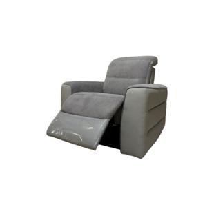 FLY-fauteuil relax electrique tissu gris / pu gris