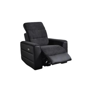 FLY-fauteuil relax electrique tissu noir / pu noir