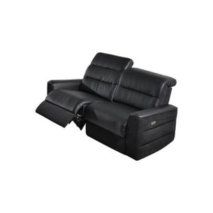 FLY-canape 2,5places relax electrique pu et tissu noir