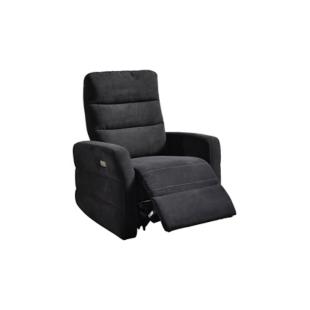 FLY-fauteuil relax electrique tissu noir / fil blanc