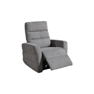 FLY-fauteuil relax electrique tissu gris/fil blanc