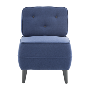 FLY-fauteuil tissu bleu bouton anthracite