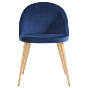FLY-chaise assise velours bleu