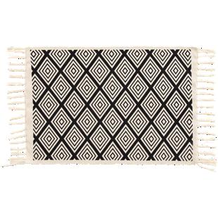 FLY-tapis coton 50x80 noir/blanc