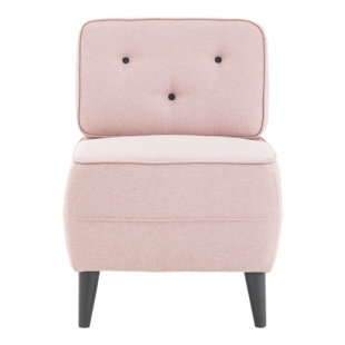 FLY-fauteuil tissu rose/boutons gris